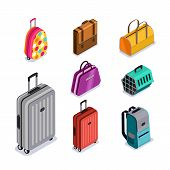 Vector Baggage Isolated 3D Isometric Style Icons. Multicolor Luggage, Suitcase, Bags, Backpack, Carr poster