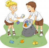 Illustration of Kids Cleaning up a Camp