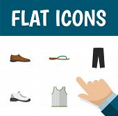 Icon Flat Clothes Set Of Man Shoe, Gumshoes, Sleeveless Tank And Other Vector Objects. Also Includes poster