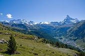 Zermatt with Matterhorn, Castor and Pollux