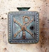 image of tithe  - Metal donation Box attached on a wall - JPG