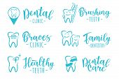 Vector Set Of Dentistry Labels: Dental Clinic, Brushing Teeth, Family Dentistry, Braces Clinic, Heal poster
