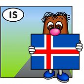 'Brownie' Showing The Flag Of Iceland