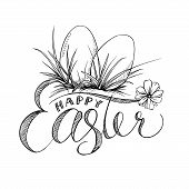 Easter Lettering And Two Eggs With Grass, Camomile Flower. Black And White Hand Drawn Isolated Illus poster