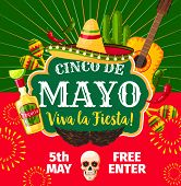 Cinco De Mayo Mexican Party Invitation Card For Mexico Traditional Holiday Fiesta. Vector Flyer Of M poster