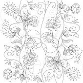 Floral hand drawn seamless background