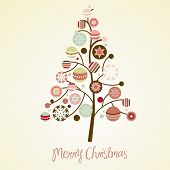 Beautiful Christmas tree illustration. Christmas Card