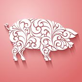 Ornamental Decorative Pig Silhouette Design Decorative Swirls Curls Elements Pattern. Logo Template  poster