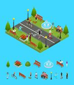 Park Activity In City And Elements Part Recreational Scene For Summer Leisure People And Sports Isom poster