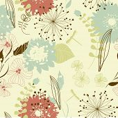 Retro floral seamless background