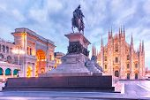 Piazza Del Duomo, Cathedral Square, With Milan Cathedral Or Duomo Di Milano And Galleria Vittorio Em poster