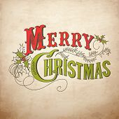 pic of merry christmas text  - Vintage Christmas Card - JPG