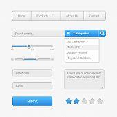 Blue Light User Interface Controls. Web Elements. Website, Software Ui:  Navigation Bar, Menu, Input poster