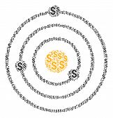 Solar System Collage Of Dollar Symbols. Vector Dollar Currency Icons Are Combined Into Solar System  poster