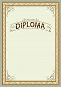 Ornate Rectangular Framework And Banner. Template For Certificate, Diploma, Announcement, Label. A4  poster