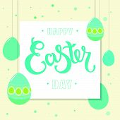 Hand Sketched Happy Easter Day Text With Eggs As Pascha Logotype, Badge And Icon. Drawn Resurrection poster
