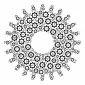 Cogwheel Collage Of Cogwheels. Vector Mechanical Wheel Pictograms Are Composed Into Cogwheel Shape. poster