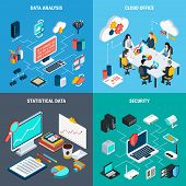 Big Data 2x2 Design Concept Set Of Cloud Office Data Analysis Security And Statistic Square Icons Is poster