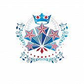 Military Star Emblem Created With Royal Crown And Floral Ornament. Heraldic Vector Design Element, 5 poster