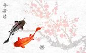 Sakura Branch In Blossom And Two Big Fishes. Traditional Oriental Ink Painting Sumi-e, U-sin, Go-hua poster