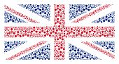Постер, плакат: Uk State Flag Collage Composed Of Wmd Nerve Agent Chemical Warfare Design Elements Vector Wmd Nerve