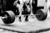 Blurred Motion Powerlifter Exercise Deadlift Heavy Barbell poster