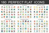 180 Vector Complex Flat Icons Concept Symbols Of Legal, Laws And Justice, Insurance, Banking Finance poster