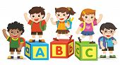 Back To School. Happy School Kids With Alphabet Blocks. poster