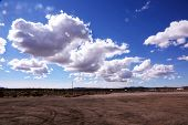 Blue Sky with white fluffy clouds. Mohave Desert with Blue Sky and White Clouds, Death Valley with b poster