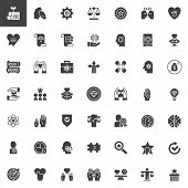 Ethics Universal Vector Icons Set, Modern Solid Symbol Collection, Filled Style Pictogram Pack. Sign poster