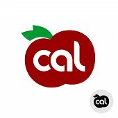 Calories Icon With Red Apple And Green Leaves Silhouette. Cal Letters Logo With Ripe Fruit Shape. poster