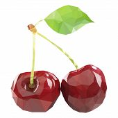 Polygonal Cherry In Vector, Low Poly Style Cherry. Two Cherries poster