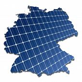 Solar cells in an abstract map of Germany