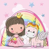 Greeting Card With Cute Cartoon Fairy Tale Princess And Unicorn poster
