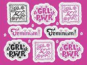 Set Of Feminism Stickers. Feminism Symbols Vector Illustration Design. Girl Power Lettering Quote. R poster