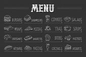 Cafe Menu With Food And Drinks On Chalkboard. Sketch Of Burger, Wrap, Croissant, Hot Dog, Sandwich,  poster