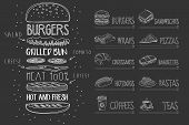 Cafe Menu Template On Black Chalkboard. Burger With Ingredients And Text. Sketch Of Dessert, Wrap, C poster