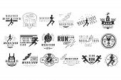 Collection Of Monochrome Logos For Marathon Or Run Club. Emblems With Silhouettes Of People And Spor poster