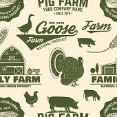 American Farm Seamless Pattern. Vector. Vintage Design With Chicken, Pig, Cow And Farm House Silhoue poster
