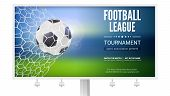 Billboard With Movement Of Football Ball. Game Moment With Goal, Ball In The Net, Mesh. Football Bal poster