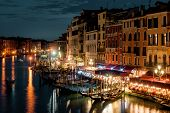 Grand Canal At Night In Venice, Italy. This Street Is One Of The Best-known Sights In Venice. The Il poster