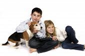 stock photo of niece  - Boy and girl with pet dog on white - JPG