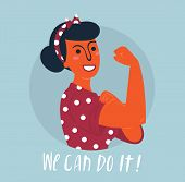We Can Do It Poster. Strong Hindu Asian Girl. Classical American Symbol Of Female Power, Woman Right poster
