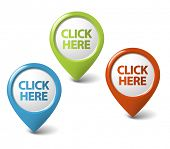 Vector Round 3D click here pointer - button (call to action)