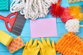 Colorful Cleaning Supplies Composition. Different Items For House Cleaning. Still Life Cleaning Prod poster