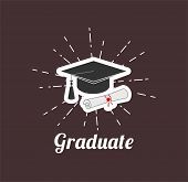 Graduation Cap And Diploma In Beams. Vector Illustration. poster