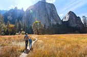 Back View Of Active Family Of Two, Father And Son, Enjoying Valley And Mountain View In Yosemite Nat poster