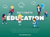 Back To School For Education Banner With Pupils Illustration. Happy Kids With Backpack And School Su poster