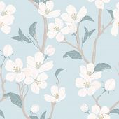 Blooming Tree. Seamless Pattern With Flowers. Spring Floral Texture. Hand Drawn Botanical Vector Ill poster