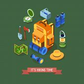 Isometric Hiking Banner With Hike Elements And Accessories. Camping Concept Background With Isometry poster